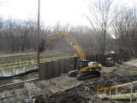 Sheet pile installation around impacted area