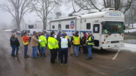 Daily operations briefing held in front of EPA's MCP.<br />Date Taken: 3/9/2015<br />Category: Site Photo<br />Latitude: <br />Longitude: <br />Tags: