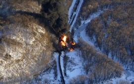 Fire at derailment site<br />Date Taken: 3/5/2015<br />Category: Site Photo<br />Latitude: <br />Longitude: <br />Tags: