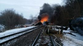 Fire ongoing at derailment site<br />Date Taken: 3/6/2015<br />Category: Site Photo<br />Latitude: <br />Longitude: <br />Tags: