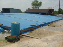 This is the tarp that was erected to cover the drip pad.