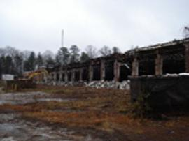 View of demo of the front side of the site building.