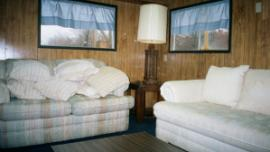 Interior view of trailer- small furnished room